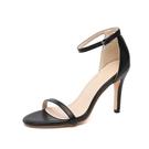特惠 一字扣帶9cm涼鞋模特鞋新款夏季時尚露趾絨面高跟鞋女士細跟