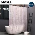 默瑪EVA防水衛生間浴室簾子防霉掛簾隔斷簾浴簾套裝免打孔蝴蝶花