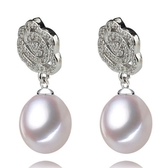 珍珠耳環 925純銀-水滴型8-9mm玫瑰鑲鑽生日情人節禮物女飾品73lw26【時尚巴黎】
