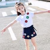 女童裝 女童夏裝 新款時髦套裝韓版洋氣女孩衣服兒童短袖兩件套潮童裝【快速出貨八折下殺】