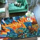幸福居*孔雀光之翼藝術地毯色彩濃郁臥室地毯沙發茶幾客廳毯 防滑個性墊(尺寸:140CM×200CM )