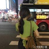 抹茶綠chic套裝兩件套短袖t恤女韓版寬鬆百搭短款牛油果綠色上衣 安妮塔小舖