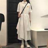 長洋裝 2020流行夏季韓版新款寬鬆喪系裙子 復古厭世不規則中長款洋裝女