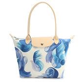 LONGCHAMP SPLASH系列水花圖紋長把棉質帆布水餃包(藍莓色)480529-807