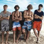 沙灘褲男速干寬鬆海邊度假大大尺碼泳褲情侶裝五分溫泉平角短褲套裝夏【全館免運八五折】