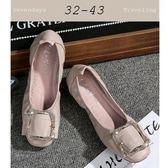 大尺碼女鞋小尺碼女鞋圓頭舒適鬆緊方扣蛋捲鞋豆豆鞋孕婦鞋平底鞋娃娃鞋米色(32-43)