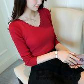 針織衫/春季新款女裝V領彈力針織套頭打底衫顯瘦修身長袖毛衣上衣