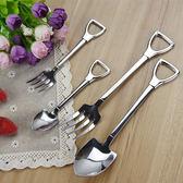 【BlueCat】偽裝系小鏟子握柄湯匙叉子不鏽鋼餐具(小號)