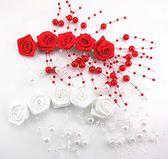 新娘髮飾  頭花婚紗玫瑰花軟額飾紅色