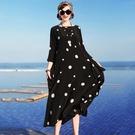 重磅真絲洋裝/連衣裙長款2021夏裝大牌大碼高檔時尚寬鬆杭州桑蠶絲女裝 快速出貨