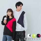 刷毛T【OBIYUAN】長袖T恤 衣服 MIT 撞色 拼接 情侶款 上衣 共3色【JG5609】
