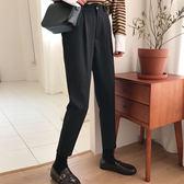 春裝新款韓版褲子寬鬆顯瘦哈倫褲百搭高腰黑色休閒褲西裝褲女學生【七七特惠全館七八折】