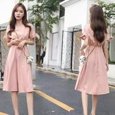 很仙的法國小眾桔梗裙子女裝2019夏季新款顯瘦清新棉麻連身裙洋裝文藝