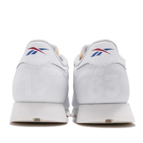 Reebok 復古慢跑鞋 CL Leather MU 白 藍 皮革鞋面 大LOGO 運動鞋 男鞋【PUMP306】 DV4629