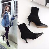 靴子女夏春秋女鞋新款短靴顯瘦高跟中跟靴裸靴中筒彈力靴