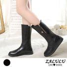 ZALULU愛鞋館 7IE083 顯瘦系列金拉鍊平底長筒機車靴-偏小-黑-36-41
