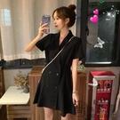 夏季新款韓版小個子黑色西裝短裙收腰顯瘦V領氣質短袖連身裙女潮
