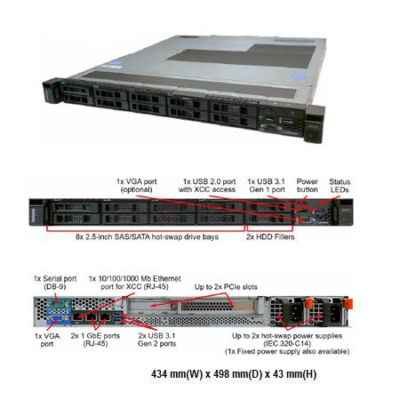 Lenovo SR250 ( 7Y51S04100 ) 1U機架式伺服器(3.5吋)【Intel Xeon E-2104 / 8GB / Raid(Intel RSTe) / 1TB / 300W fixed】