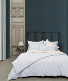 【e-mission】Agnis-blue 竹節紗純棉加大四件式床包組