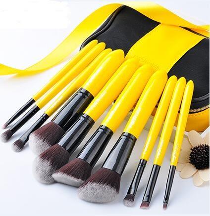 化妝刷10支檸檬黃化妝刷套裝全套眼影刷粉底刷刷子化妝工具【情人節禮物限時八折】