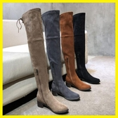 不掉筒5050過膝長靴女拉鏈款過膝靴平底中跟秋冬季小辣椒瘦腿靴