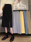 2021夏新款黑色高腰顯瘦半身裙薄款開叉a字中長款女一步包臀裙子小清新韓式日系風及膝裙
