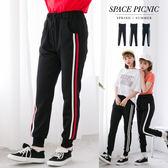 運動褲 長褲 Space Picnic|現貨.直條腰綁帶褲腳縮口運動長褲【C18033014】