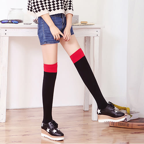 長筒襪 雙色 拼接 加厚 無跟襪 長筒襪【FS020】 icoca  12/08