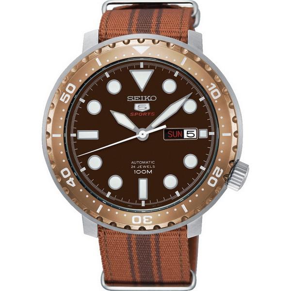 【台南 時代鐘錶 SEIKO】精工 盾牌五號 潛水風格機械錶 SRPC68J1@4R36-06N0J 尼龍帶 玫瑰金 45mm