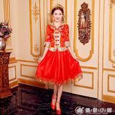 新娘敬酒服春秋短款中式結婚禮服女顯瘦復古旗袍紅色S-6XL 優家小鋪igo