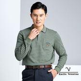 【Emilio Valentino】英倫風範橫條紋保暖休閒POLO衫 - 綠