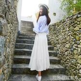 雪紡半身裙雪紡半身裙女夏2020新款中長款蛋糕裙高腰網紗裙長裙a字白色裙子 新品