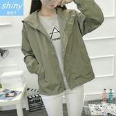【V1428】shiny藍格子-原宿風.純色壓釦拉鍊連帽長袖薄款外套