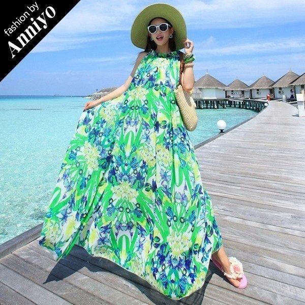 Anniyo安妞‧大花雪紡波西米亞大擺顯瘦海灘度假拖地沙灘裙長裙長洋裝 綠黃花