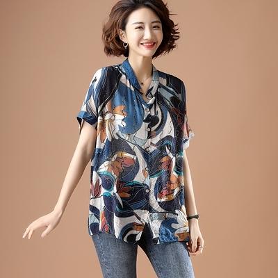 立領上衣襯衣中大尺碼L-5XL復古印花貼鉆短袖襯衫女裝立領襯衣NB11.胖丫