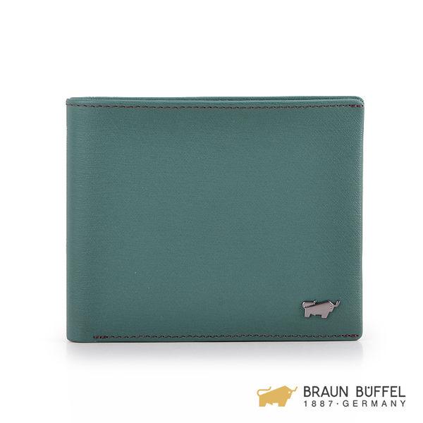 【BRAUN BUFFEL】紳士系列8卡壓紋透明窗零錢短夾 -藍色 BF182-318-BL