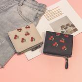 女短款刺繡迷你學生小清新折疊超薄零錢包PLL4970【男人與流行】