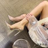 歐美淺口水晶細跟水鉆透明女單鞋伴娘婚鞋尖頭高跟鞋【毒家貨源】