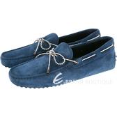 TOD'S Gommino Driving 麂皮綁帶豆豆休閒鞋(藍色) 1510166-E1