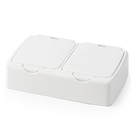 【BlueCat】無印風 雜物收納 彈蓋白色收納盒 (長方形雙格) 收納小物