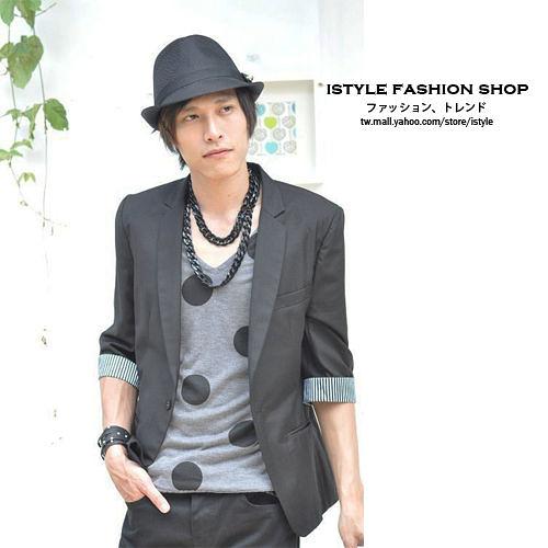 【s02】ibella 日系都會雅痞時尚窄版7分袖男裝西裝外套 韓版型男百搭款 2色