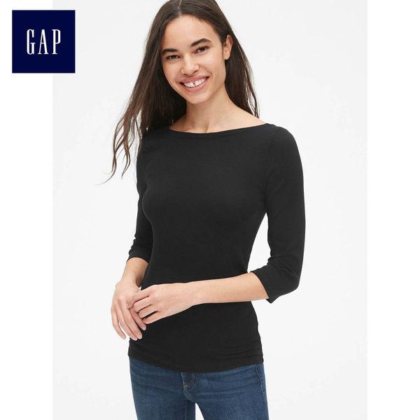 Gap女裝 莫代爾圓領七分袖T恤 時尚衣服純色休閒上衣女 469045-純正黑色
