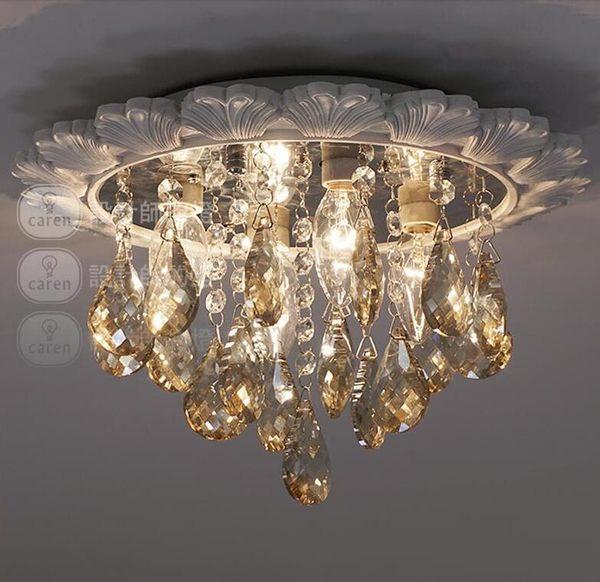美術燈    美式創意臥室客廳餐廳燈具陽台走廊吸頂燈貝殼邊水晶燈    -不含光源