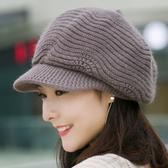 帽子女秋冬季八角帽針織毛線帽冬天保暖時尚貝雷帽韓版百搭兔毛帽