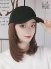 假髮帽 帽子假發一體女時尚網紅鴨舌帽棒球帽鎖骨發內扣直發全頭套式假發 韓菲兒