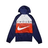 Nike 外套 NSW Swoosh Jacket 藍 橘 男款 防風外套 連帽 運動休閒 【ACS】 CJ4889-455