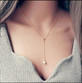 日韓氣質甜美鍍18K玫瑰金配飾Y單顆珍珠項鏈女飾品鎖骨鏈簡約吊墜  巴黎街頭