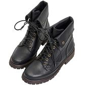 AIR SPACE 率性擦色感綁帶馬丁短靴(黑)