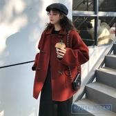 斗篷外套女 2020新款秋冬裝短款外套女小個子牛角扣大衣流行氣質斗篷