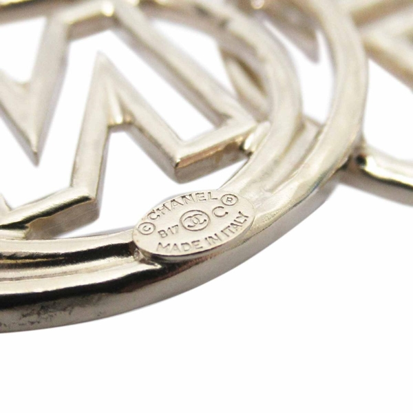 CHANEL 香奈兒 鍍銀鏤空英文文字胸針 Logo Pin Brooch B17【二手名牌BRAND OFF】